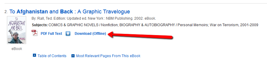 Screenshot of an EBSCO eBook with the Download Offline Option
