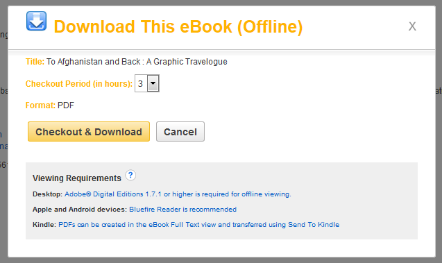 Screenshot of the pop up box with the option to checkout and download the ebook