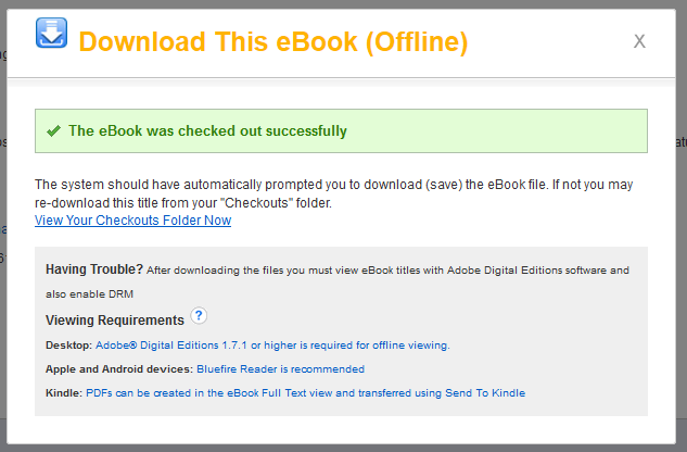 Screenshot of pop up box indicating a successful ebook download