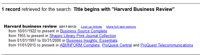 Screenshot of the periodical finder results for a Harvard Business Review search