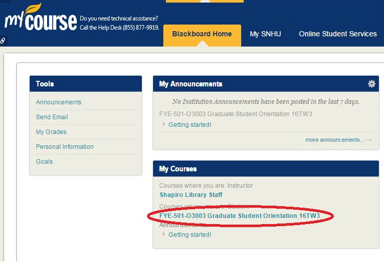 Screenshot of Blackboard homepage with course circled