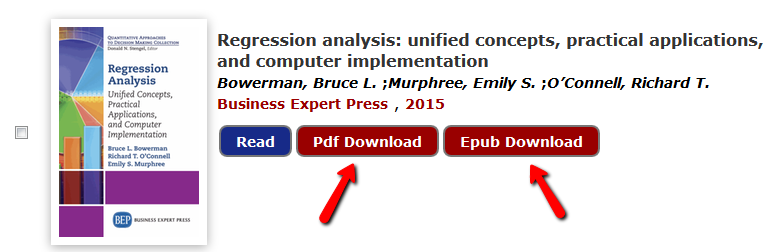 Screenshot of business expert press download buttons