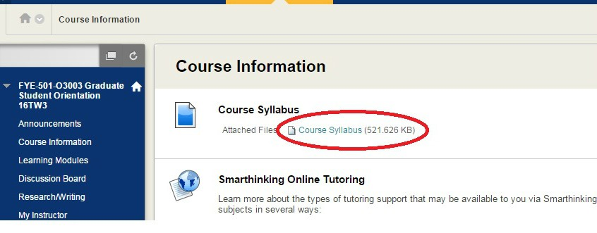 Screenshot of Blackboard with course syllabus link circled