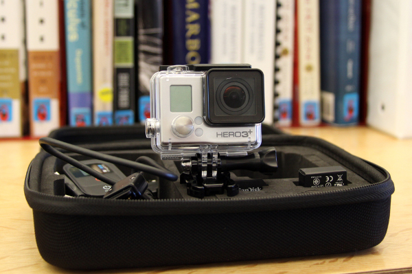 A photograph of the GoPro HERO3 camera and case