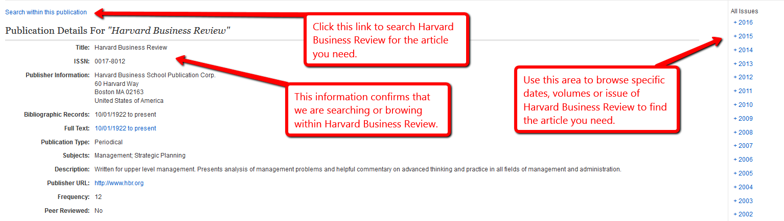 Screenshot of page where you can search or browse Harvard Business Review