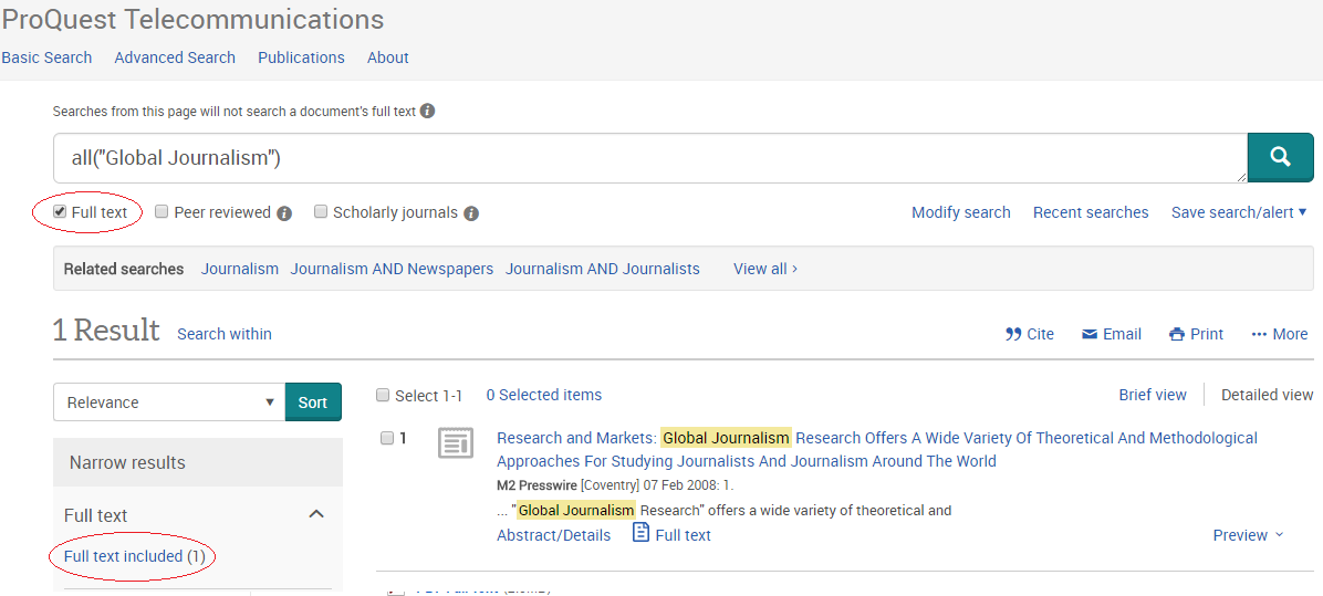 Screenshot of full text limiter in Proquest database