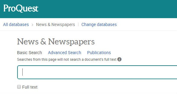 Screenshot of Proquest news and newspapers homepage