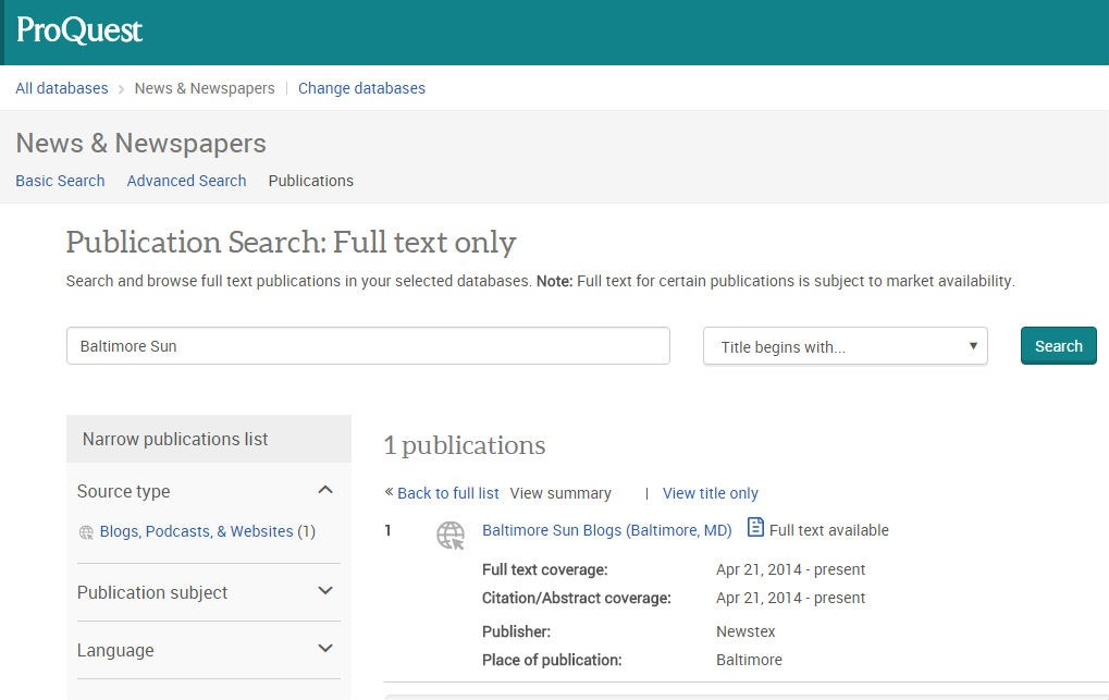 Screenshot of proquest publication search page
