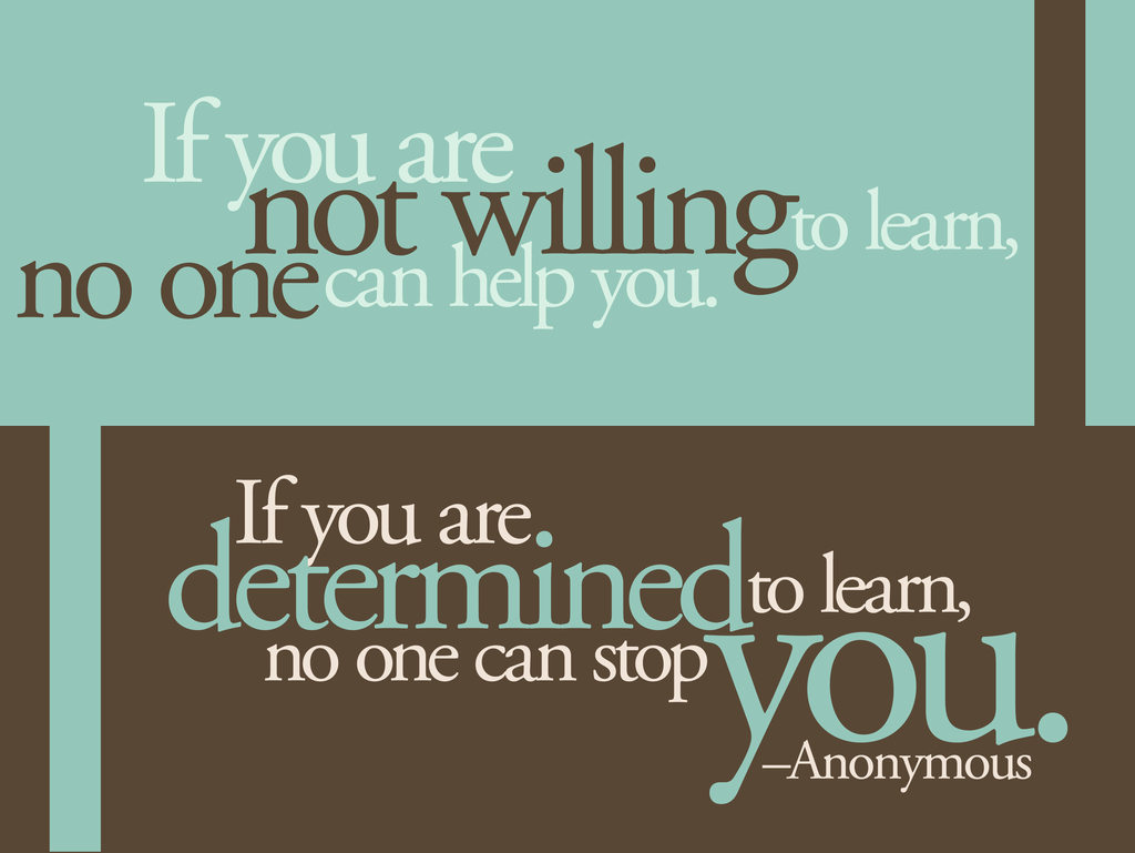 Quote: If you are not willing to learn, no one can help you