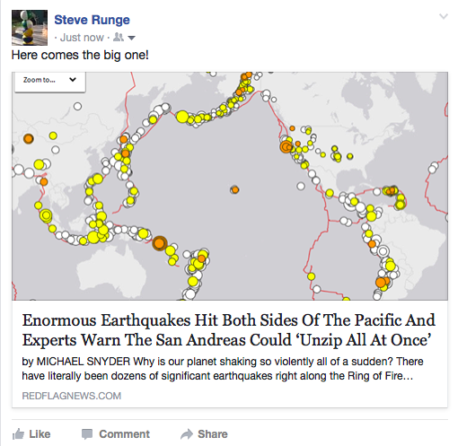"Facebook post of news article, with image of map of 'ring of fire' showing earthquakes. Headline: ""Enormous Earthquakes Hit Both Sides of the Pacific And Experts Warn The San Andreas Could 'Unzip All At Once.'"" Source: Redflagnews.com"