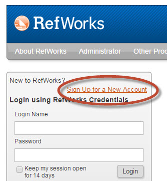 "screenshot showing ""Sign up for a new account"" link on RefWorks login page"