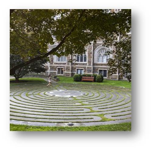 photo of labyrinth outside Bapst Library, Boston College