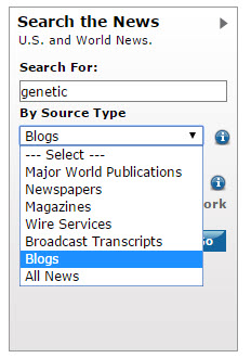 image of lexis-nexis search box showing the blog search selection