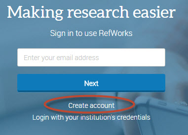 "screenshot of New RefWorks login page, with a circle around ""create account."""