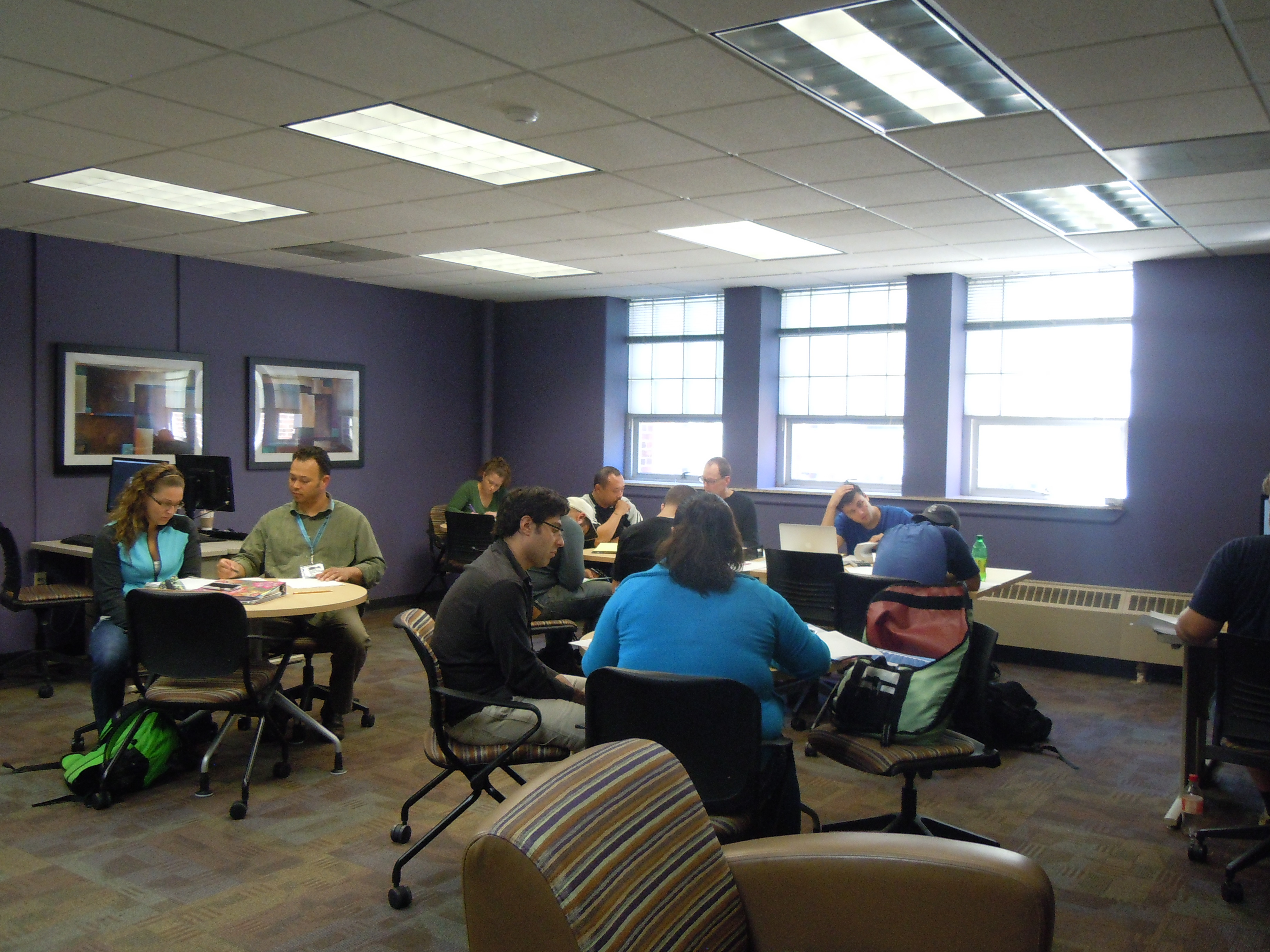 Students working in the SAC