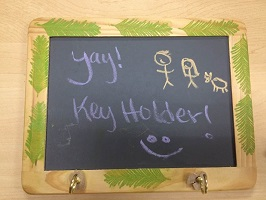 Key holder and chalkboard