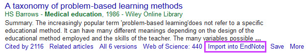 one results from a google scholar search with import into endnote button displayed