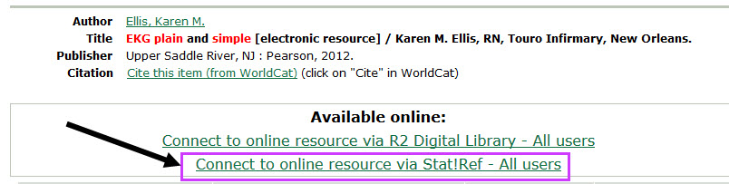 library catalog record for EKG plain and simple