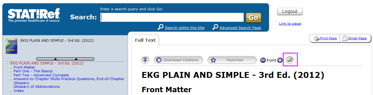 screenshot of EKG plain and simple table of contents on Stat!Ref with paperclip icon highlighted