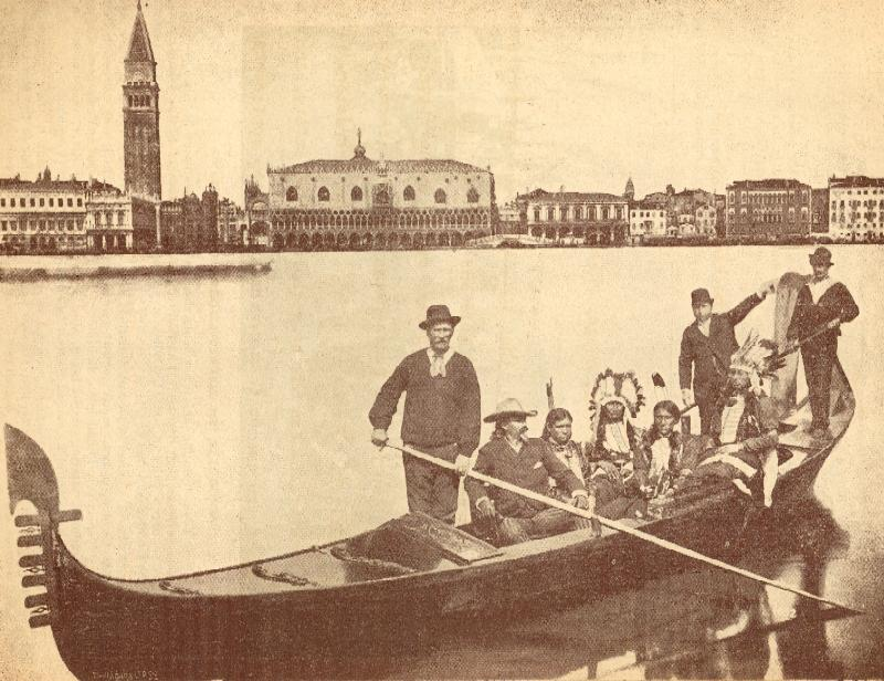 Buffalo Bill and First American Indians Visiting Venice