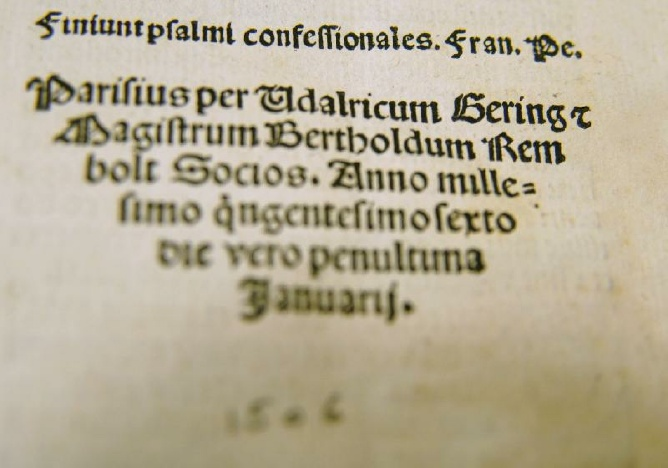 Commentary on the Psalms of David, 1506
