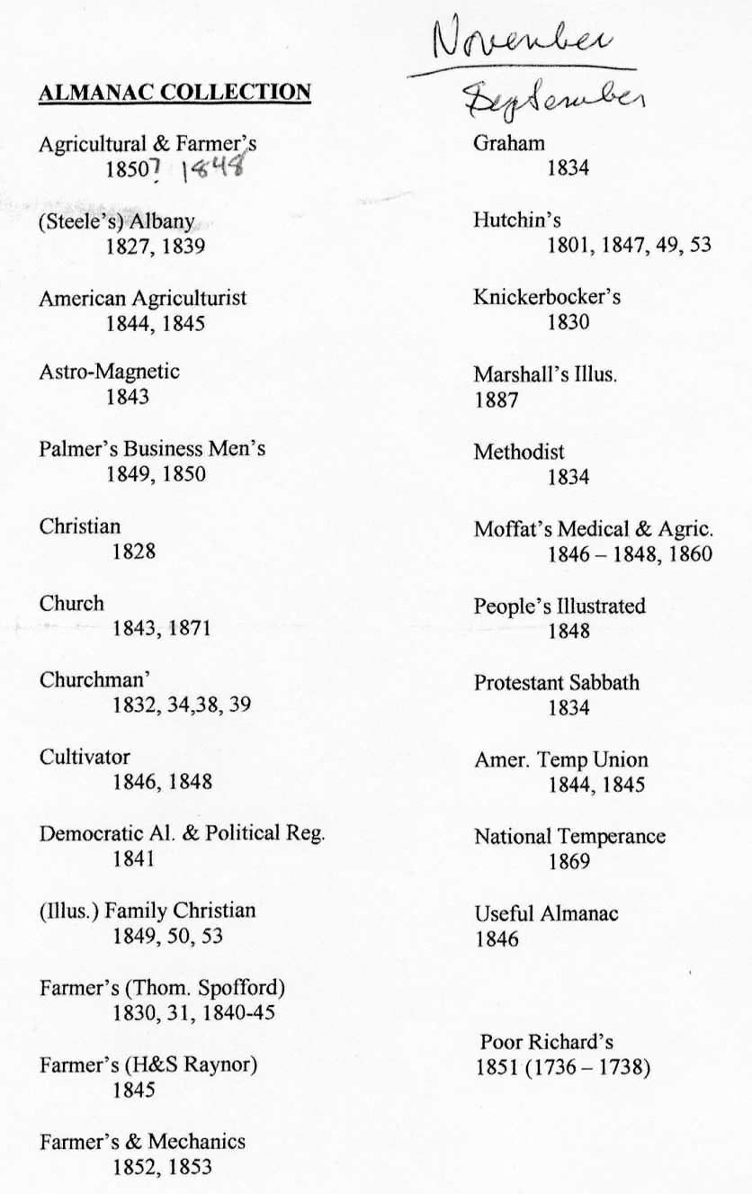 Andrew Ippolito's personal typed list of the Almanacs