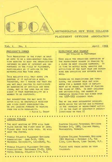 CPOA. Metropolitan New York College Placement Officer's Association. Vol. 1. No. 1. April 1960.