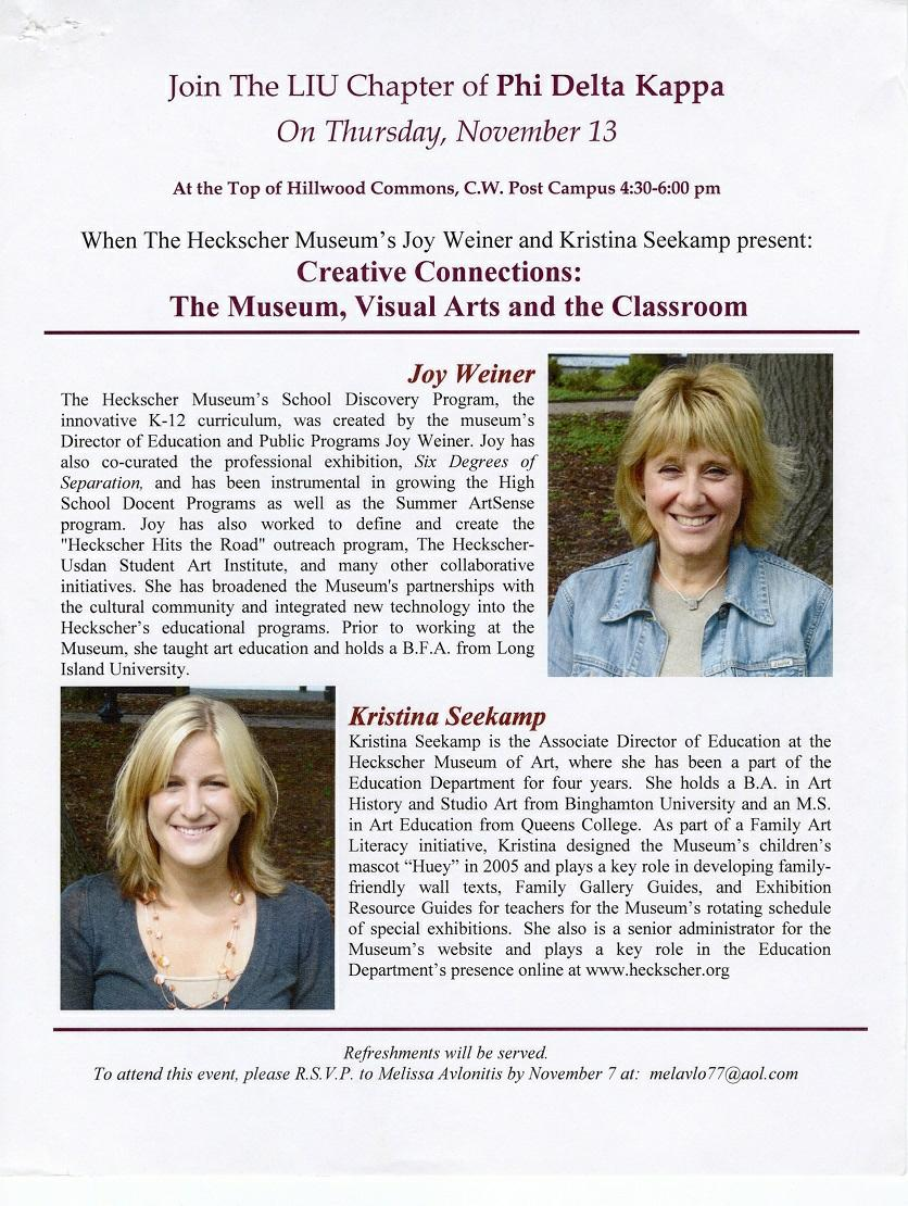 "Joy Weiner and Kristina Seekamp present ""Creative Connections: The Museum, Visual Arts, and the Classroom,"" November 13, 2008"