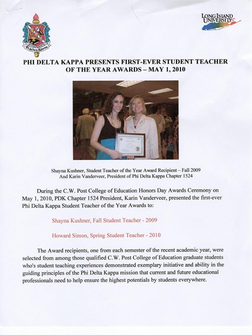 Phi Delta Kappa Presents First-Ever Student Teacher of the Year Awards, May 1, 2010