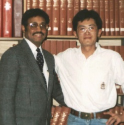 Mel Sylvester and graduate student Thomas from Taiwan in May 1991.