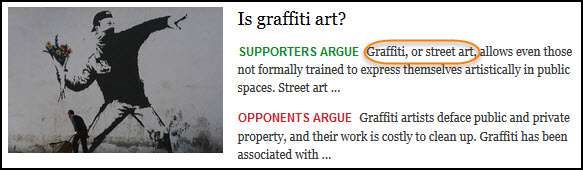 image of report where both the terms graffiti and street art are listed