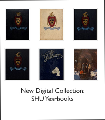 Pictures of Seton Hall yearbooks with words