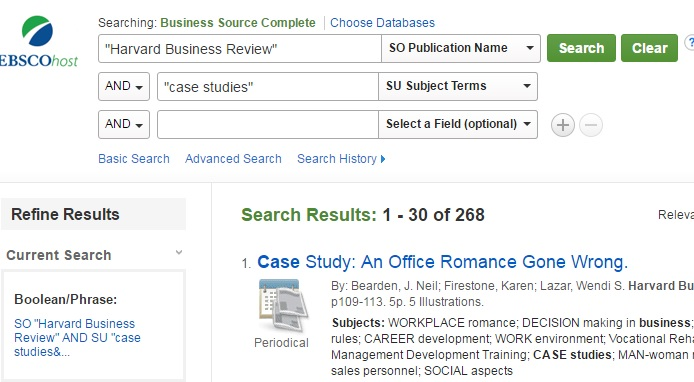 Screenshot of sample search and results