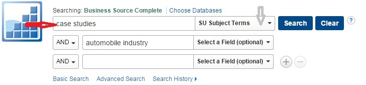 """Example Business Source Complete search for """"case studies"""" in """"SU Subject Terms"""""""
