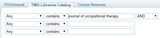 Occupational Therapy Journal Search in TWUniversal Catalog