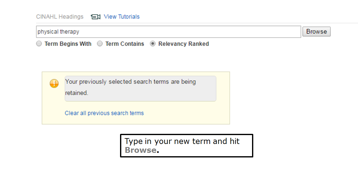 Type in your new term and hit Browse.