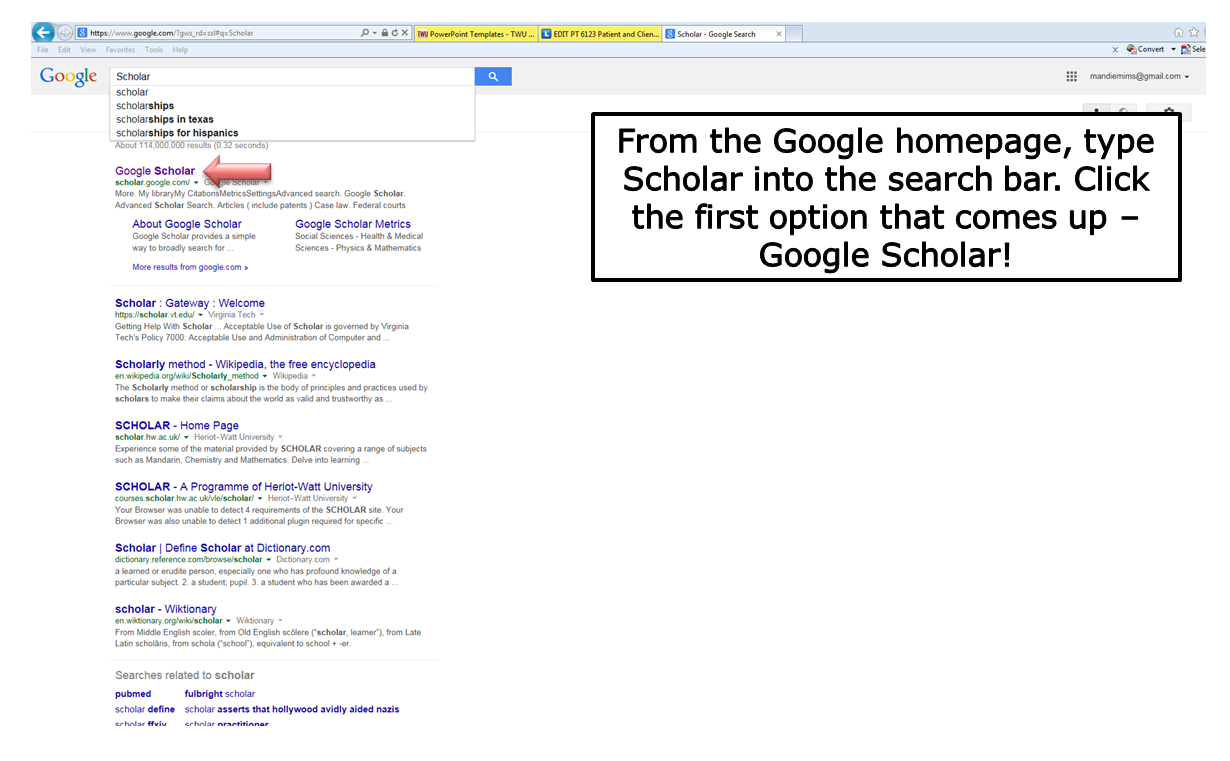 From the Google Homepage, type Scholar into the search bar. Click on the first option that comes up - Google Scholar!