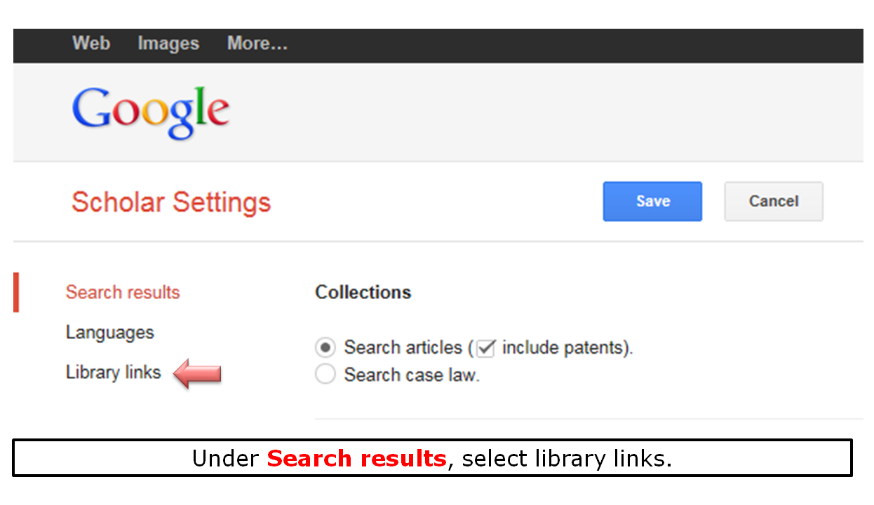 Under Search results, select library links.