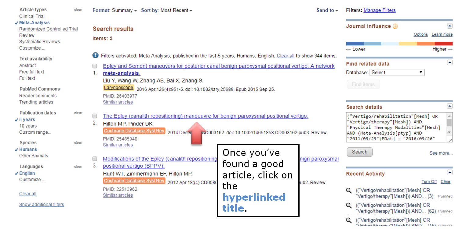 Once you've found a good article, click on the hyperlinked title.