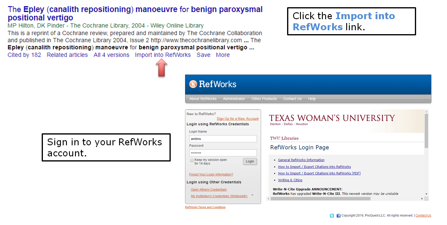 Click the import into RefWorks link. Sign in to your RefWorks account.