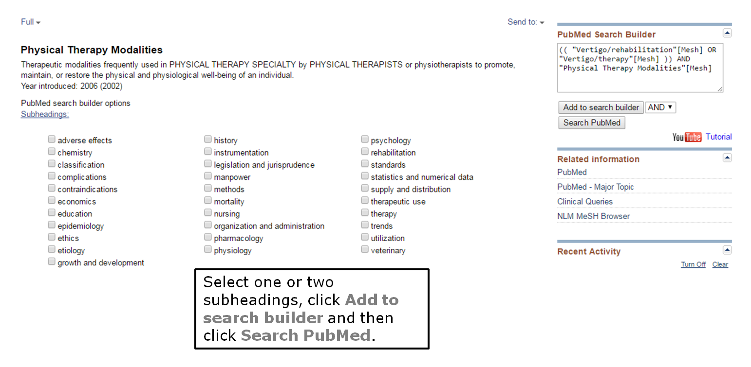 Select one or two subheadings, click add to search builder and then click search PubMed.