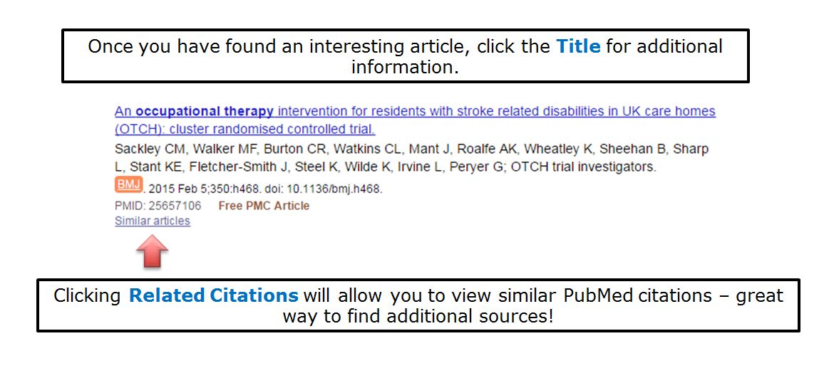 Once you have found an interesting article, click the Title for additional information. Clicking Related Citations will allow you to view similar PubMed citations – great way to find additional sources!