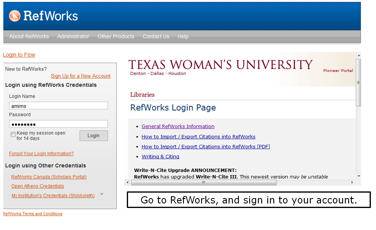 Go to RefWorks, and sign in to your account.
