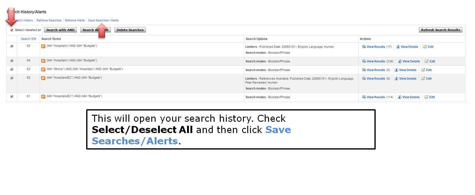 This will open your search history. Check Select/Deselect All and then click Save Searches/Alerts.