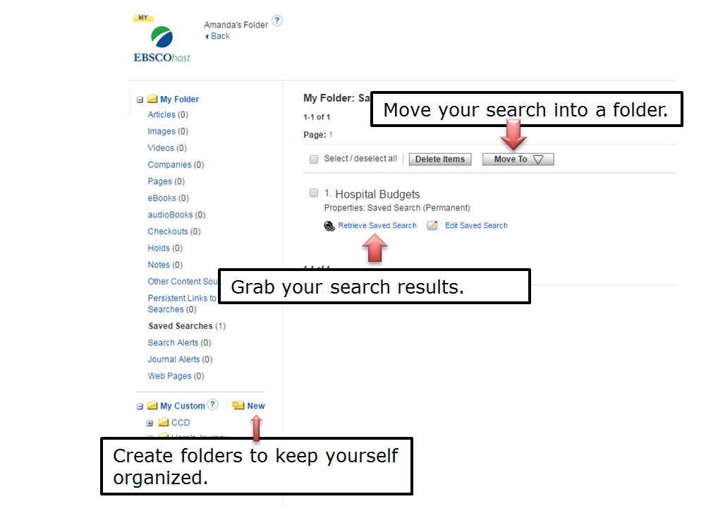 Move your search into a folder. Grab your search results. Create folders to keep yourself organized.
