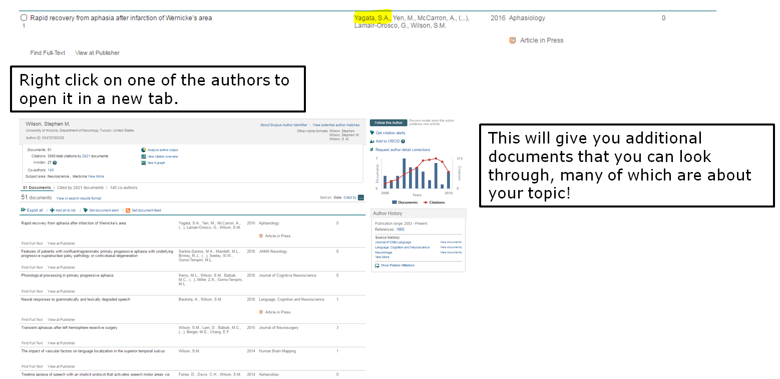 Right click on one of the authors to open it in a new tab. This will give you additional documents that you can look through, many of which are about your topic!