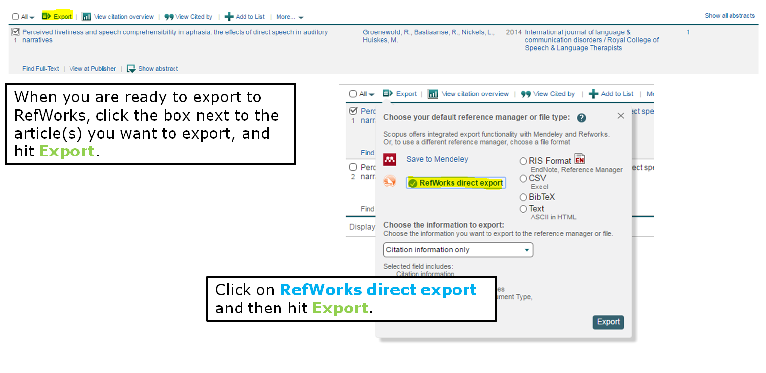 When you are ready to export to RefWorks, click the box next to the article(s) you want to export, and hit Export. Click on RefWorks direct export and then hit Export.