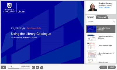 Using the Library Catalogue presentation [Image source: UniSA Library]