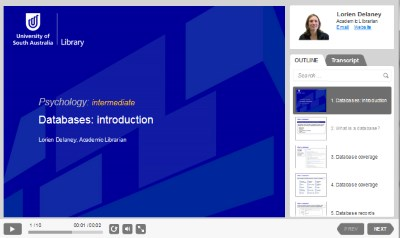 Databases: introduction presentation [Image source: UniSA Library]