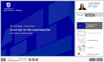 Quick tips for the supersearcher [Image source: UniSA Library]